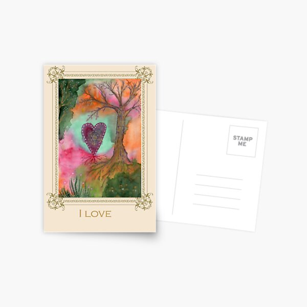 I love -Tree affirmation card Postcard