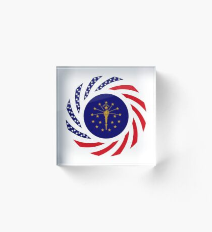 Indiana Murican Patriot Flag Series Acrylic Block
