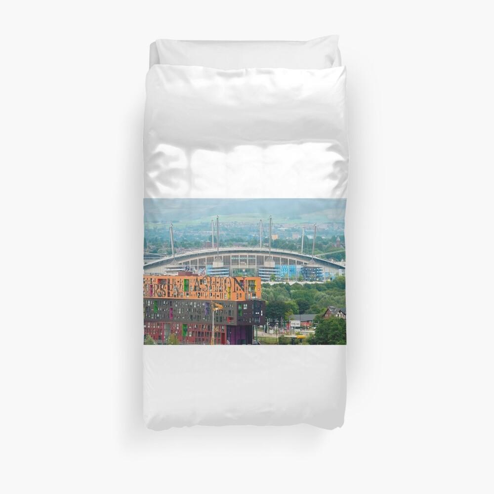 Etihad Stadium, the home of  Manchester City Football Club Duvet Cover