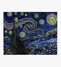 Starry Night by Van Gogh in Typography Photographic Print