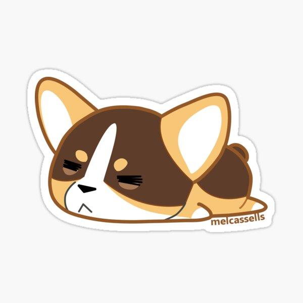 Sleepy Corgi - Tri Color Sticker