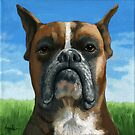 Barry Boxer - dog portrait painting by LindaAppleArt