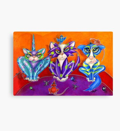 Kitty Line Up, the Usual Suspects, by Alma Lee Canvas Print