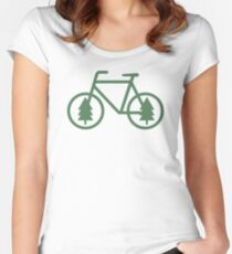 Pacific Northwest Bike - Pine Tree Bicycle - Cycling Women's Fitted Scoop T-Shirt