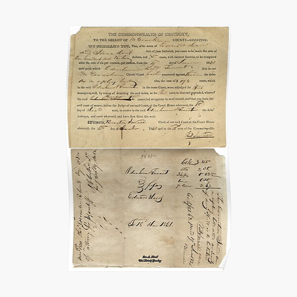 1841, DAVIS AND TENENT, MCCRACKEN COUNTY, KENTUCKY Poster