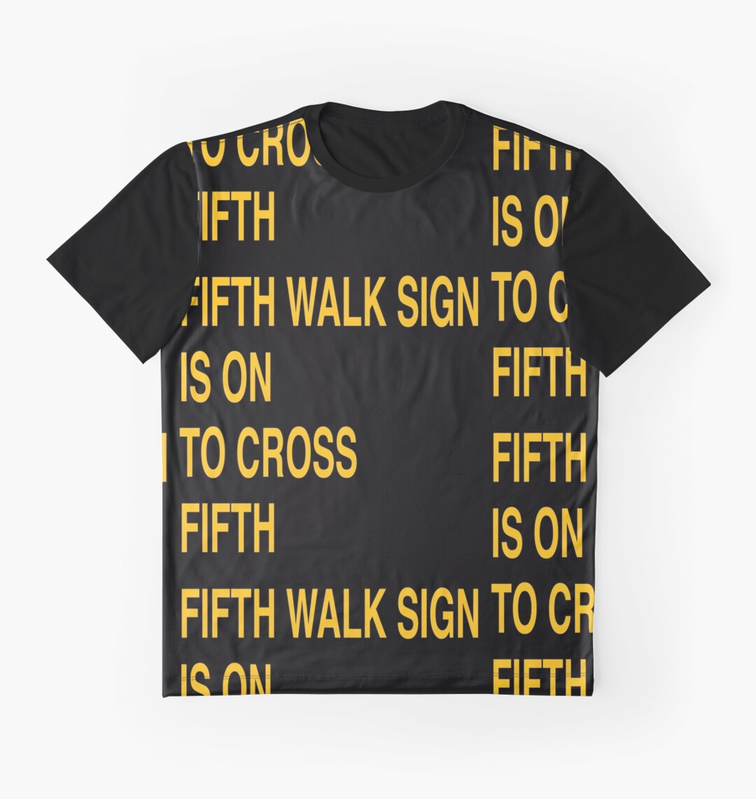 Fifth Walk Sign is On to Cross Fifth (Minimalist, Black and Gold ...