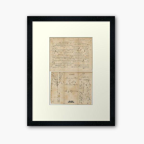 1841, NEWMAN AND OLINGMAN, MCCRACKEN COUNTY, KENTUCKY Framed Art Print