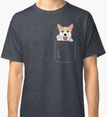 Corgi In Pocket T-Shirt Cute Paws Blush Smile Puppy Emoji  Classic T-Shirt