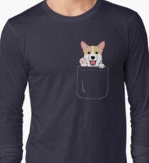 Corgi In Pocket T-Shirt Cute Paws Blush Smile Puppy Emoji  Long Sleeve T-Shirt