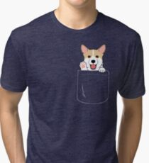 Corgi In Pocket T-Shirt Cute Paws Blush Smile Puppy Emoji  Tri-blend T-Shirt