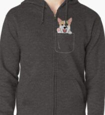 Corgi In Pocket T-Shirt Niedliche Pfoten Blush Smile Puppy Emoji Kapuzenjacke