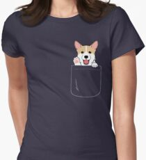 Corgi In Pocket T-Shirt Cute Paws Blush Smile Puppy Emoji  Women's Fitted T-Shirt