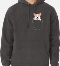 Sudadera con capucha Corgi In Pocket camiseta Cute Paws Blush Smile Puppy Emoji