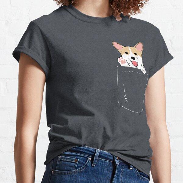Corgi In Pocket T-Shirt Cute Paws Blush Smile Puppy Emoji  Classic T-Shirt