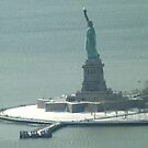 Aerial View, Snow View, Statue of Liberty, Liberty Island, Hudson River by lenspiro