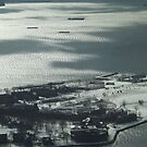 Aerial View, Snow View, Governors Island, Hudson River, New York City by lenspiro