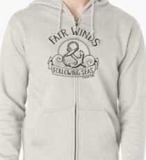 Fair Winds and Following Seas - Black  Zipped Hoodie