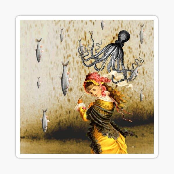 Rain Catcher Raining Fish Digital Collage Sticker