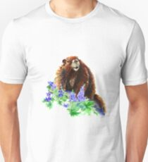 Marmot, Groundhog, Woodchuck,Watercolor Animal Unisex T-Shirt