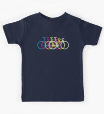 Four Bicycles Bikes CMYK Kids Tee