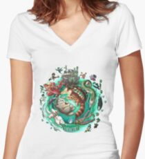 Ghibli Tribute Women's Fitted V-Neck T-Shirt