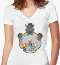 SUPER POKEMON BROS Women's Fitted V-Neck T-Shirt