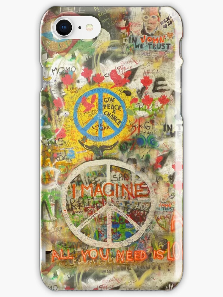 The Beatles iPhone Case John Lennon Peace Sign 7, 6, 5, 4s, 4, 3gs, 3 Imagine All You Need is Love by Tara Holland