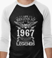 Life Begins At 50 1967 The Birth Of Legends Men's Baseball ¾ T-Shirt