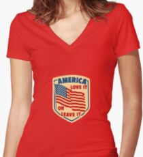 America Love it or Leave it Women's Fitted V-Neck T-Shirt