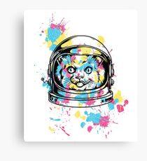 cute kitty kitten cat astronaut  Canvas Print