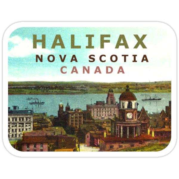 """Halifax Nova Scotia Canada Vintage Travel Decal"" Stickers"