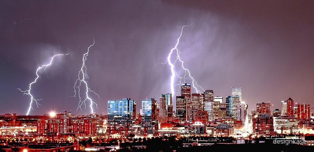 Downtown Denver Nightime Lightning Storm over Skyline by designkase
