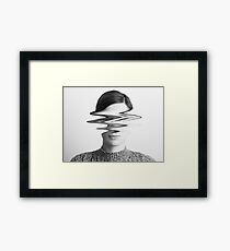 Black and White Abstract Woman Portrait Of Restlessness Concept Framed Print
