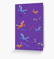 Cute Fun Unicorns rainbow purple violet orange cartoon pattern Greeting Card
