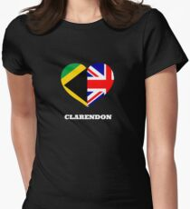 Love Clarendon Jamaican Flag British Union Jack Heart Womens Fitted T Shirt