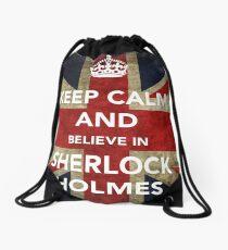 Believe in Sherlock Drawstring Bag