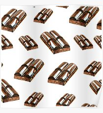 Watercolor summer sweet chocolate pattern on white background Poster