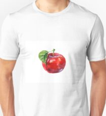 Watercolor summer insulated red apple on white background T-Shirt