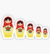 Red russian matryoshka nesting dolls Sticker