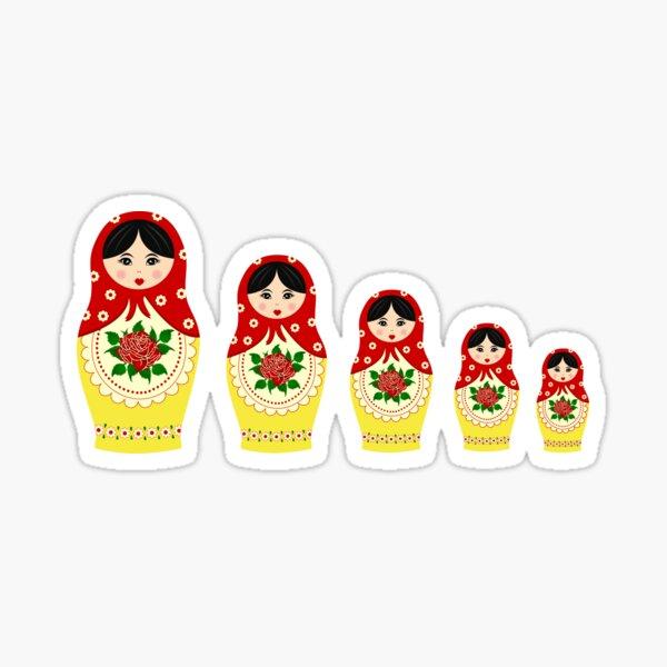 Red russian matryoshka nesting dolls Sticker