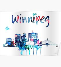 Colorful watercolor Winnipeg skyline  Poster