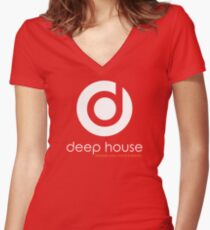 Deep House Music DJ Love the Beats Women's Fitted V-Neck T-Shirt