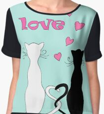 couple cats with love Chiffon Top