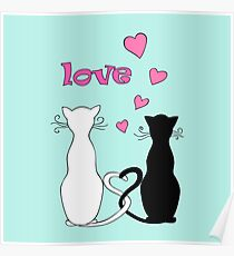 couple cats with love Poster