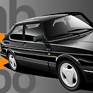 Saab 900 Turbo 'banner' artwork by RJWautographics