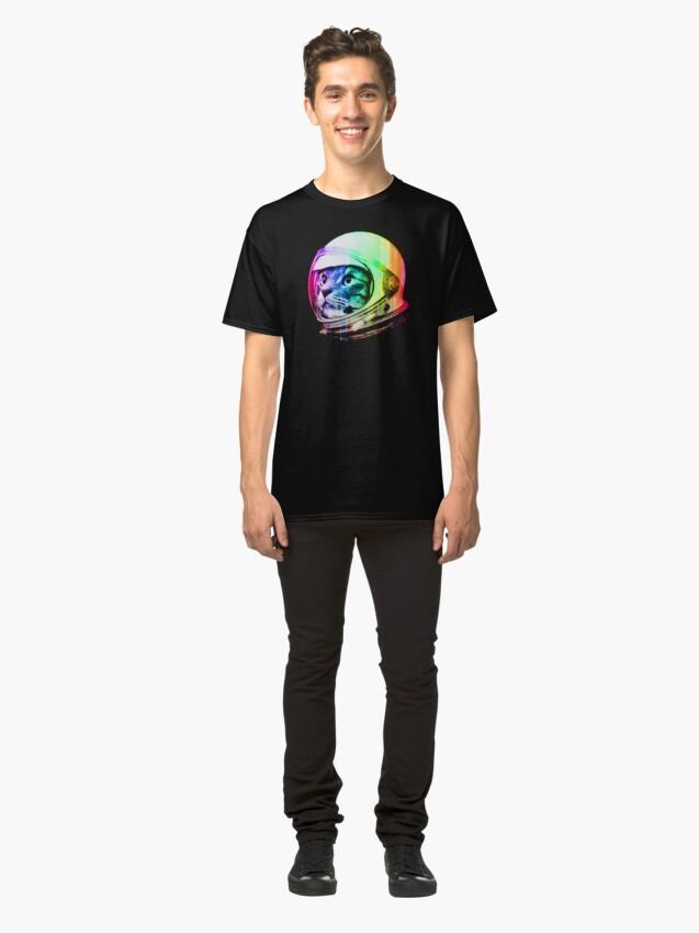 Alternate view of Astronaut Space Cat (digital rainbow version) Classic T-Shirt