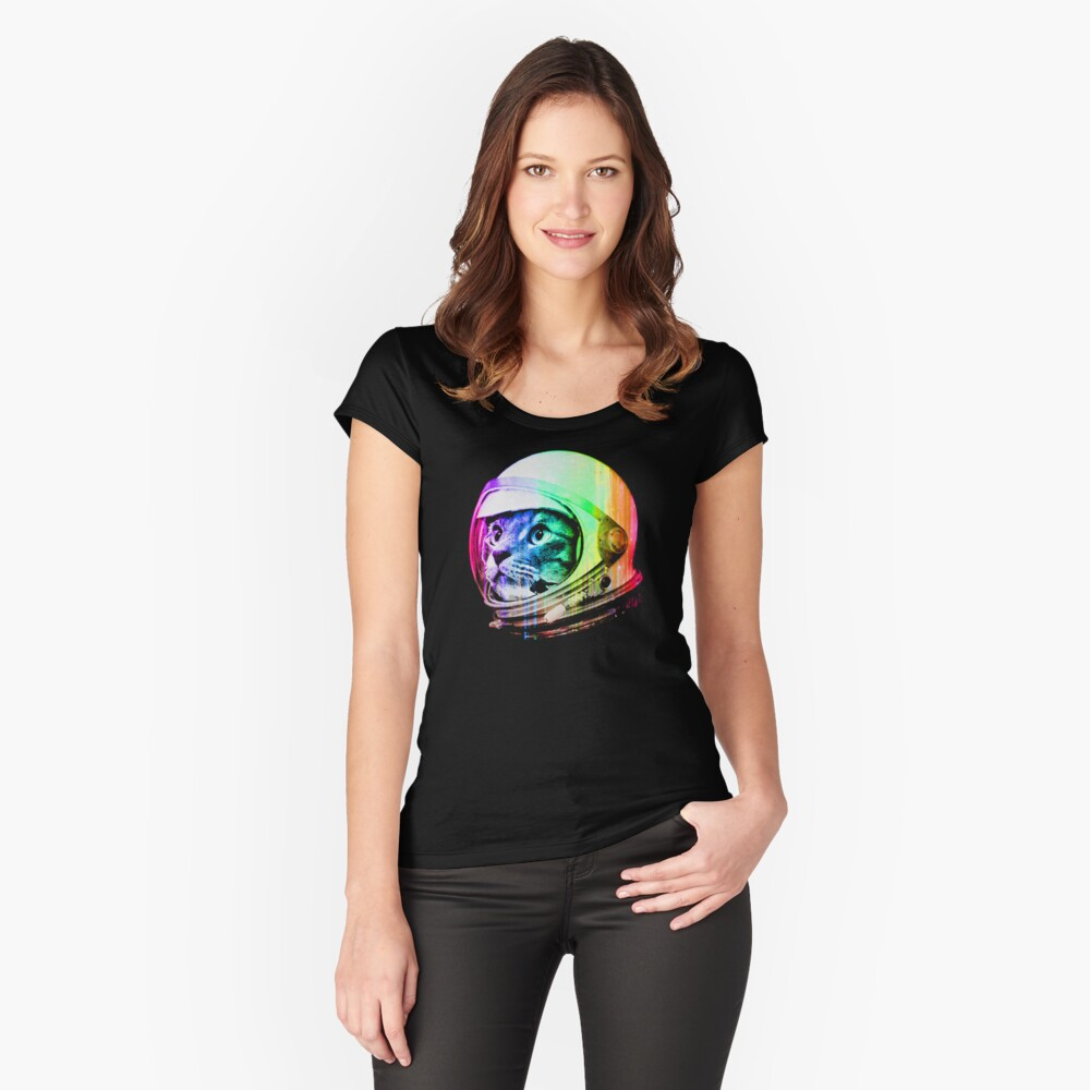 Astronaut Space Cat (digital rainbow version) Fitted Scoop T-Shirt