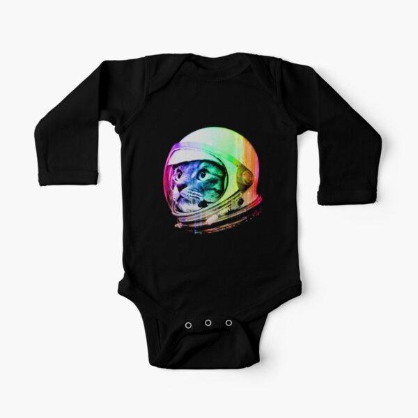 Astronaut Space Cat (digital rainbow version) Long Sleeve Baby One-Piece