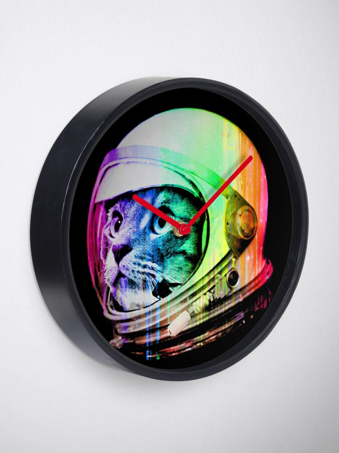 Alternate view of Astronaut Space Cat (digital rainbow version) Clock