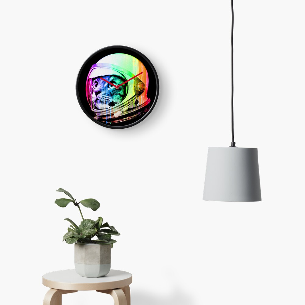 Astronaut Space Cat (digital rainbow version) Clock